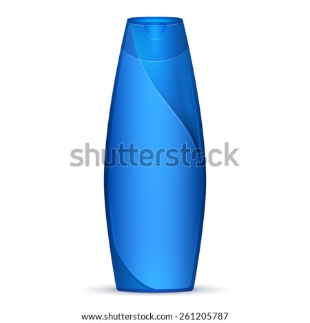 Blue Modern Shampoo Bottle. Products On White Background Isolated. Ready For Your Design. Product Packing. Vector EPS10  - stock vector
