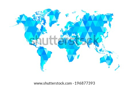 Blue Mosaic Tiles World Map Isolated - stock vector