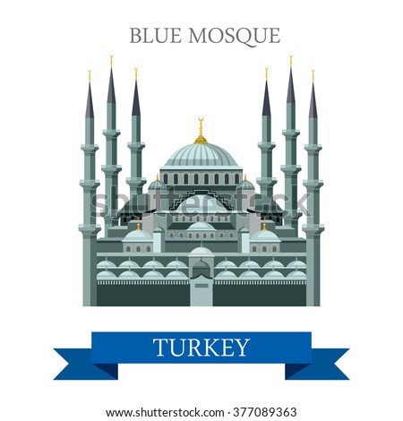 Blue Mosque in Istanbul Turkey. Flat cartoon style historic sight showplace attraction web site vector illustration. World countries cities vacation travel sightseeing Asia collection. - stock vector