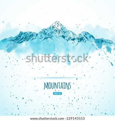 Blue mountains, hand-drawn with ink and watercolors in sketch style. Vector illustration.  - stock vector