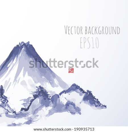 Blue mountains, hand-drawn with ink in traditional Japanese style sumi-e. Vector illustration.  - stock vector