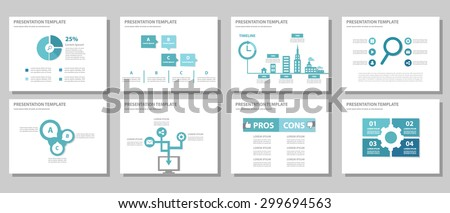 Blue multipurpose presentation template brochure flyer flat design set for marketing and advertising 3 - stock vector