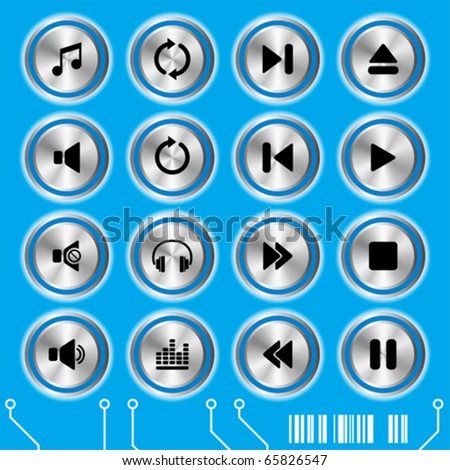 Blue music icons set. Illustration vector. - stock vector