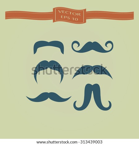 Blue Mustaches icons set - stock vector