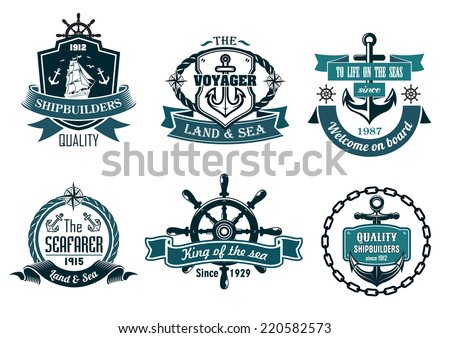 Blue nautical and sailing themed banners or icons with ship, anchor, rope, steering wheel and ribbons - stock vector