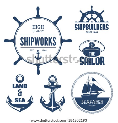 Blue nautical signs and labels - stock vector