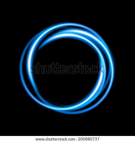 Blue neon circle background. Vector illustration - stock vector
