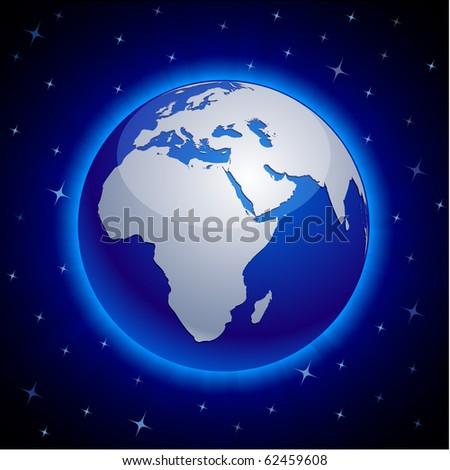 Blue neon high-detailed earth ball. Vector. - stock vector