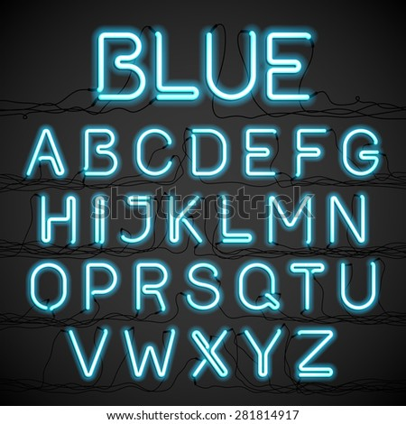 Blue neon light alphabet with cable. Vector. - stock vector