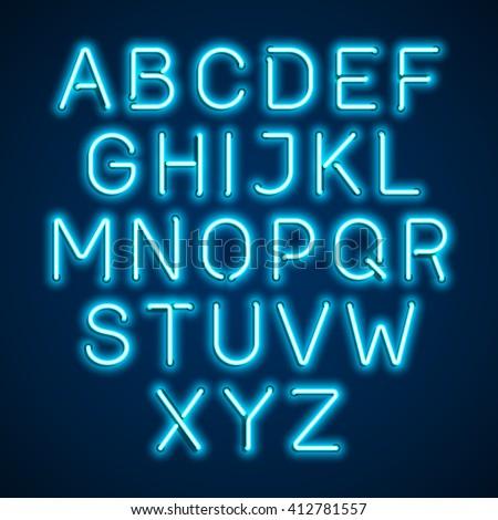 Blue neon light glowing alphabet. Vector. - stock vector