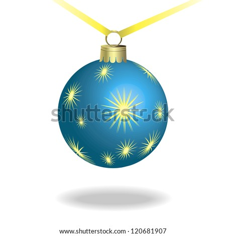 Blue New Year's ball on a white backgroundl.Vector illustration - stock vector