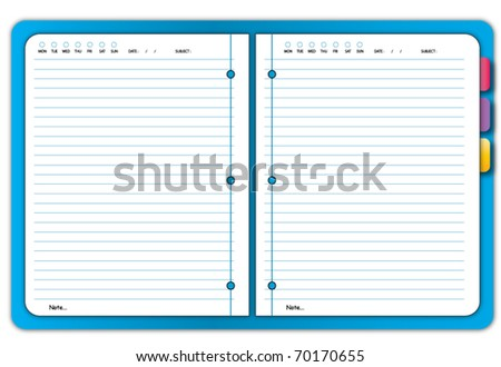 Blue notebook - stock vector