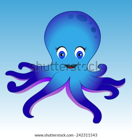 Blue octopus on blue background - stock vector