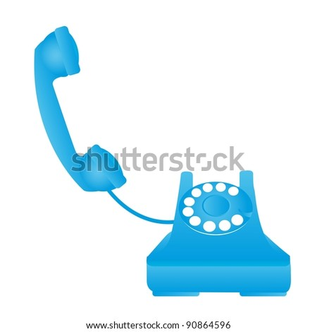 blue old telephone isolated over white background. vector - stock vector