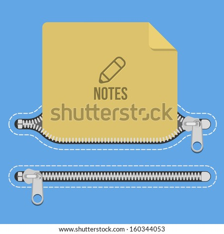 blue open closed pocket zipper notes - stock vector