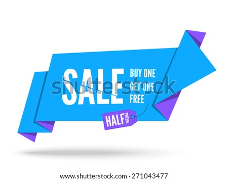 Blue Origami paper speech bubble for sale. Vector fold paper banner design for advertising - stock vector