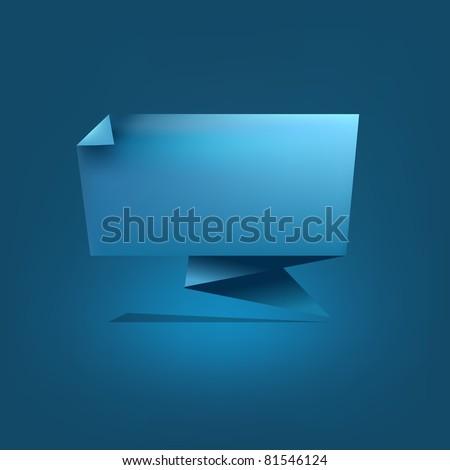 Blue Origami Speech Bubble, Vector Illustration - stock vector
