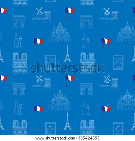 Blue Paris vector seamless pattern hand-drawn landmarks illustration background - stock vector