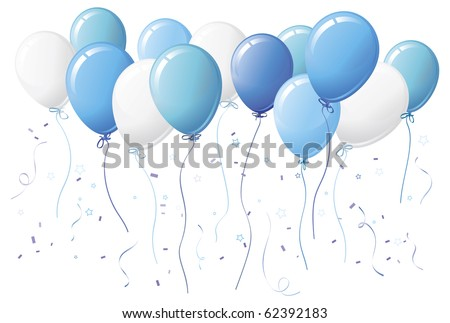Blue party balloons with confetti and streamers - stock vector