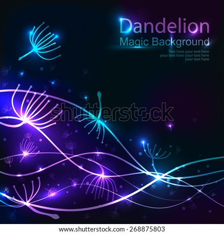 Blue Party design template with Dandelions. Vector illustration - stock vector