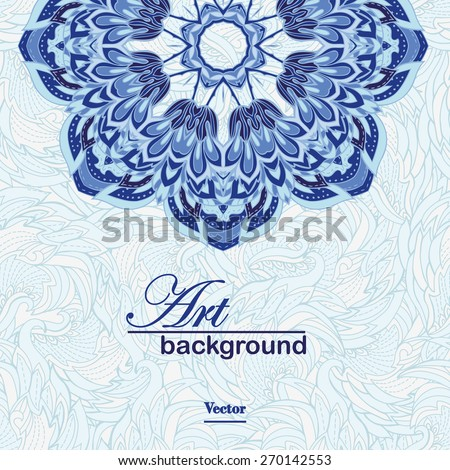 Blue patterned background art. Circle background with many details. Vector illustration. Illustration for greeting cards, invitations, and other printing projects. - stock vector