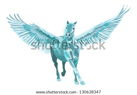 blue pegasus horse galloping with open wings - stock vector