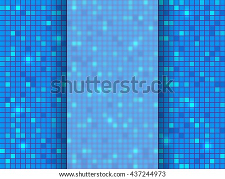 Blue pixel mosaic background with place for your text. Vector illustration. - stock vector