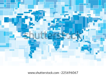Blue pixelated world map. Eps8. CMYK. Organized by layers. Two global colors. Gradients free. - stock vector
