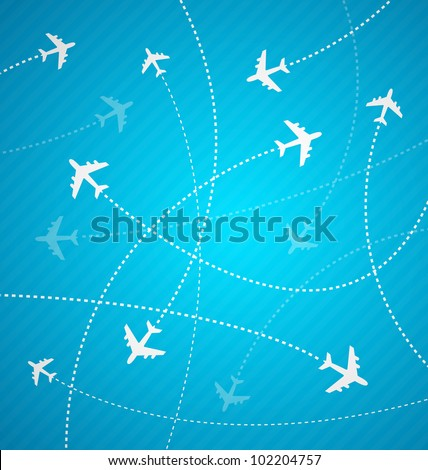 Blue Planes background with stripes - stock vector