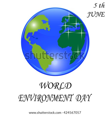 Blue planet with green continents. Stylized glossy ball. World environment Day. Vector illustration - stock vector
