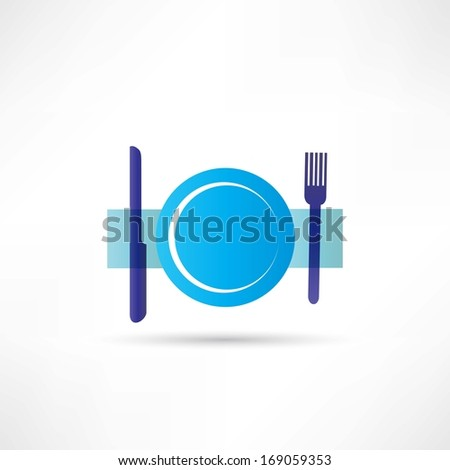 blue plate icon - stock vector