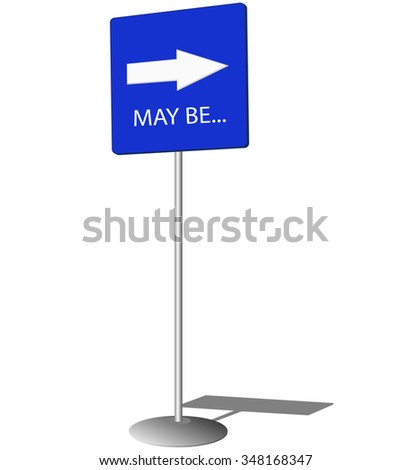 Blue pointing sign with white arrow - stock vector