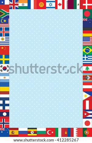 blue polka dot background with world flags frame - stock vector
