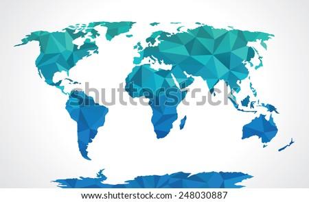 Blue polygonal world map vector  - stock vector