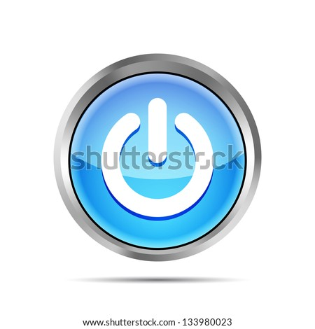 blue power button icon on ta white background - stock vector