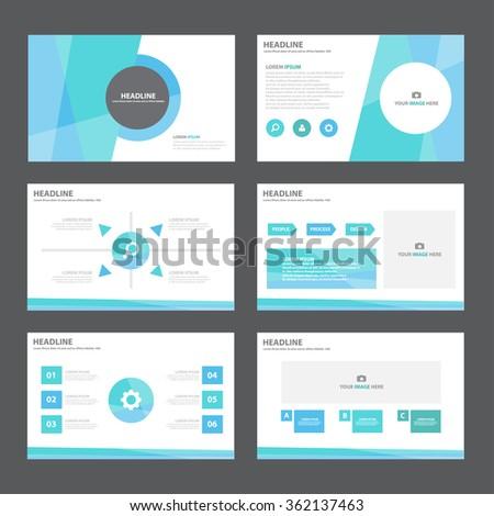 Blue presentation templates Infographic elements flat design set for brochure flyer leaflet marketing advertising - stock vector