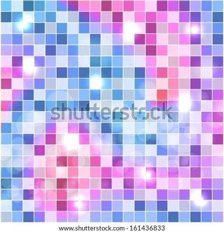 Blue, purple and pink squares, mosaic background. Vector EPS 10 illustration. - stock vector