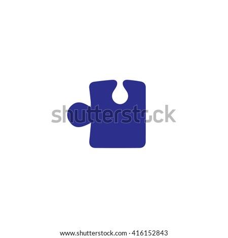 Blue puzzle icon vector illustration. - stock vector