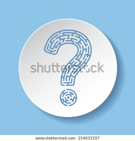 Blue question mark on white round paper plate - stock vector