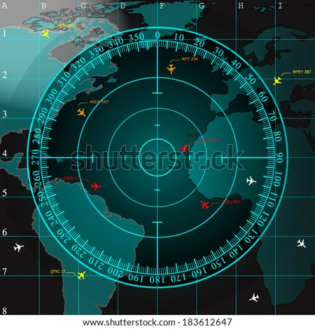 Blue radar screen over square grid lines and highly detailed map of the world, vector - stock vector