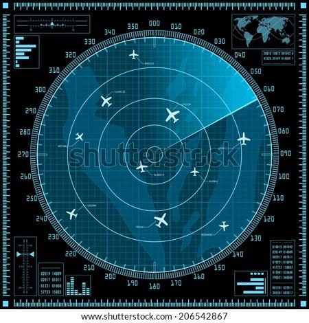 Blue radar screen with planes. Vector EPS10. - stock vector