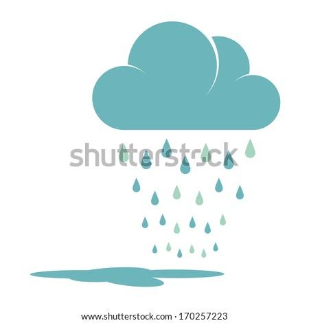Blue Rain Cloud Vector Illustration - stock vector