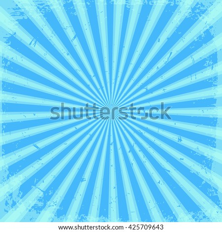 Blue rays for background. Grunge - stock vector