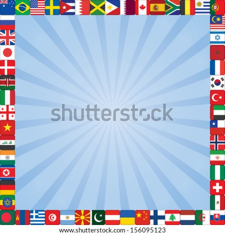 blue rays square background with flags icons frame - stock vector
