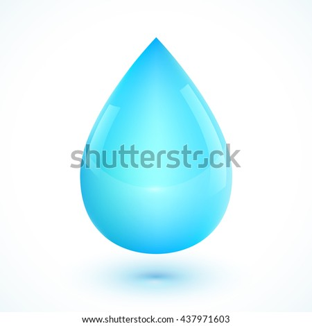 Blue realistic vector water drop isolated on white background - stock vector