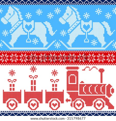 Blue, red, and white Scandinavian seamless Nordic pattern with train, Xmas gifts, hearts, rocking pony horse, stars, snowflakes in red cross stitch  - stock vector