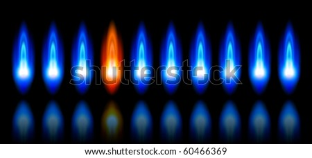 blue & red flames of a burning natural gas and reflection on black background - vector EPS10 - stock vector