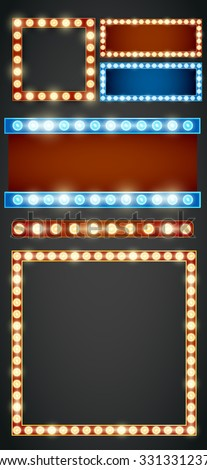 Blue red gold colored vector retro looks frame light billboard template. Vector illustration - stock vector