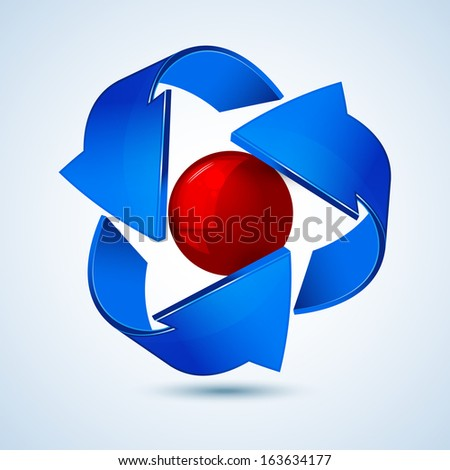 Blue refresh arrows with a red glossy ball - stock vector