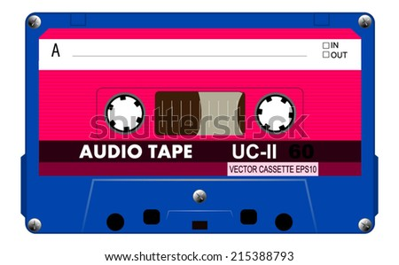 Blue retro musiccasette with pink label - side a, old magnetic blank cassette tape for music, vector art image illustration, isolated on white background, eps10  - stock vector